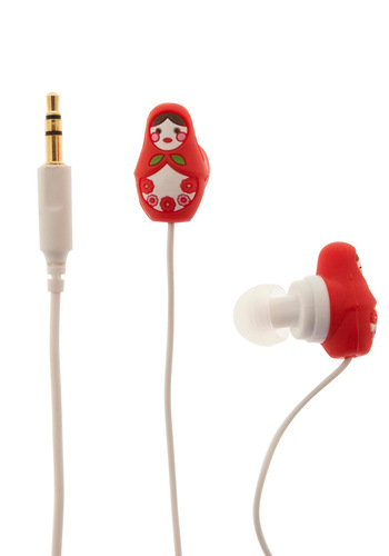 Country House Earbuds in Nesting Dolls - Red, Dorm Decor, Quirky, Travel