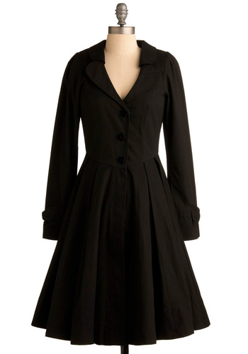Wuthering Delights Coat - Black, Solid, Casual, Long Sleeve, Fall, Winter, Long, 3