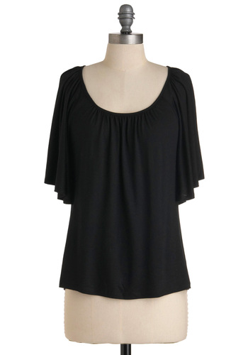 Fundamentally Fashionable Top - Casual, Black, Solid, Short Sleeves, Mid-length, Scoop