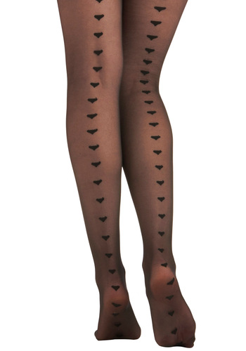 It Seams I Love You Tights - Black, Novelty Print, Girls Night Out