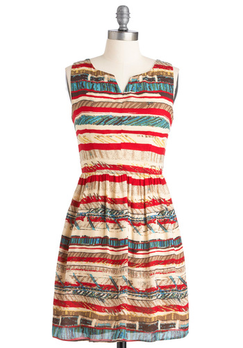 Pottery Exhibition Dress - Multi, Cutout, Sheath / Shift, Sleeveless, Casual, Red, Blue, Brown, Tan / Cream, Print, Short