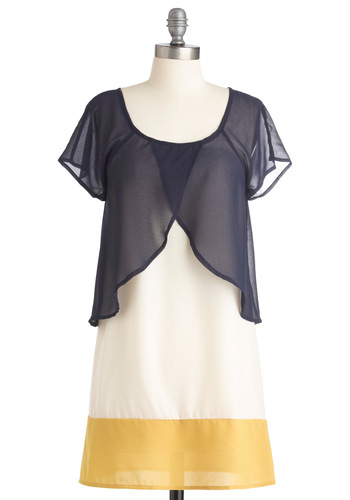 Prairie Much In Love Tunic - Long, Casual, Yellow, Blue, White, Nautical, Short Sleeves, Spring