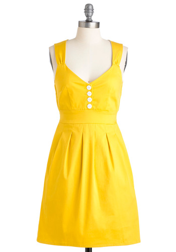 Sundress of My Life - Yellow, Solid, Buttons, Pleats, Pockets, Party, Casual, Vintage Inspired, 50s, A-line, Tank top (2 thick straps), Spring, Summer, Show On Featured Sale, Rockabilly, Pinup, Mid-length, Sweetheart