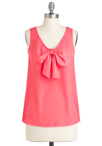 Good Mood Top - Pink, Solid, Bows, Sleeveless, Casual, Mid-length, Coral, V Neck