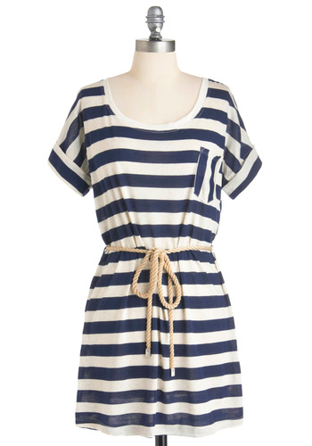 Party at the Pier Tunic - Stripes, Pockets, Short Sleeves, Blue, White, Casual, Nautical, Summer, Print, Long