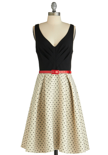 What a Debut Dress by Eva Franco - Polka Dots, Pleats, Vintage Inspired, A-line, Tan / Cream, Woven, Special Occasion, Wedding, Luxe, Tank top (2 thick straps), Long, Red, Black, Fit & Flare