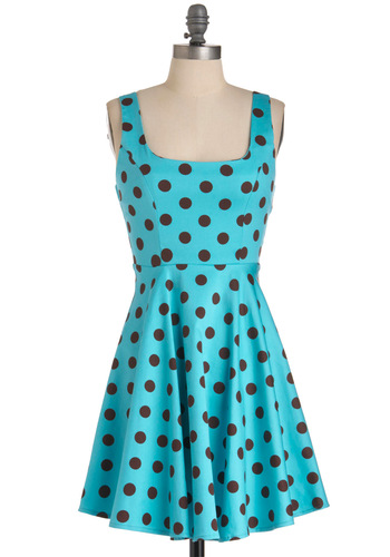 Princess of Prints Dress - Mid-length, Blue, Polka Dots, A-line, Rockabilly, Casual, Tank top (2 thick straps), Spring, Brown, Fit & Flare, Pinup