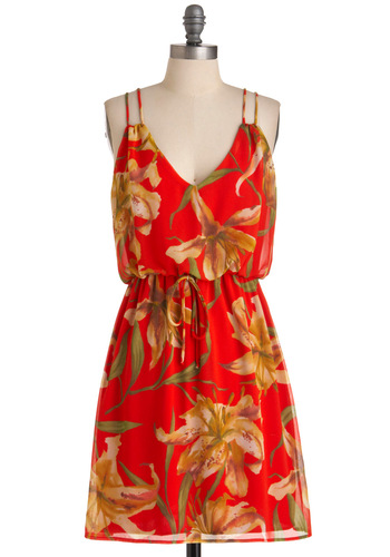 Says O'ahu? Dress - Mid-length, Red, Yellow, Floral, Sheath / Shift, Spaghetti Straps, Casual, Green, Tan / Cream, Summer