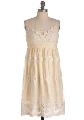 Bashful Beauty Dress - Cream, Lace, Sheath / Shift, Spaghetti Straps, Solid, Floral, Wedding, Party, Spring, Mid-length, White, Vintage Inspired, 20s, 30s