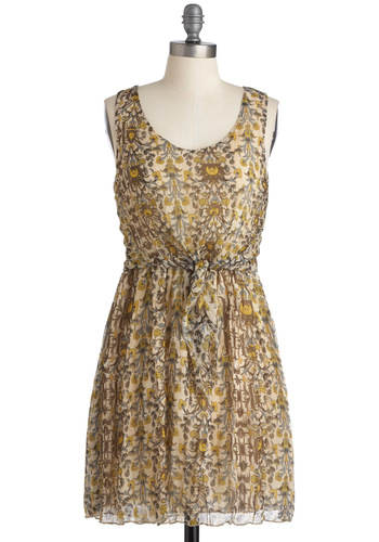 The Road Ahead Dress - Cream, Multi, Sheath / Shift, Sleeveless, Casual, Boho, Yellow, Blue, Brown, Floral, Print, Short, Scoop