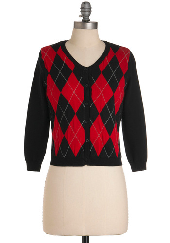 Argyles and Dolls Cardigan - Short, Vintage Inspired, 50s, Red, Argyle, 3/4 Sleeve, Black, Menswear Inspired