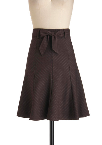 Profesh Pinstripes Skirt in Brown - Mid-length, Brown, White, Stripes, A-line, Bows, Work, Menswear Inspired
