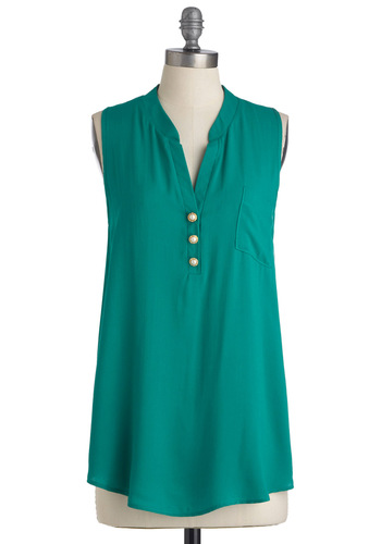 Las Palmas Top - Long, Green, Solid, Buttons, Pockets, Sleeveless, Pearls, Work