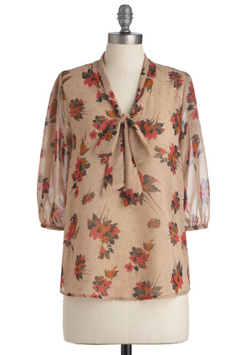 From Where Beauty Stems Top - Mid-length, Tan, Black, Floral, 3/4 Sleeve, Multi, Orange, Green, Pink, Bows, Work