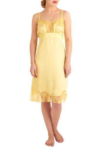 Sweet Like the Songbird Full Slip - Yellow, Solid, Lace, Spaghetti Straps, Slip, Scallops