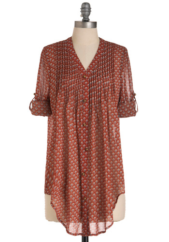 On Its Way Pintuck Top - Long, Red, Blue, Print, Buttons, Tan / Cream, Pleats, Casual, 3/4 Sleeve