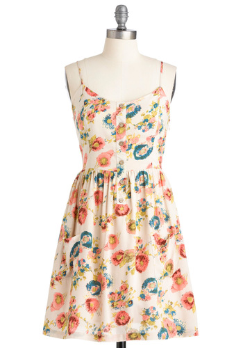 Free Day Dress - Mid-length, Floral, Buttons, Pockets, Shift, Spaghetti Straps, Multi, Yellow, Blue, Pink, White