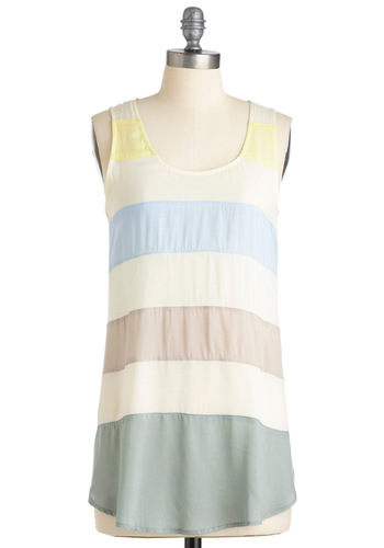 Let Me Sea Tunic - Stripes, Buttons, Multi, Yellow, Green, Blue, Grey, Casual, Sleeveless, Summer, White, Long