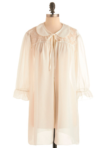Basking in Morning Light Robe - Cream, Solid, Lace, Peter Pan Collar, Ruffles, Long Sleeve, Vintage Inspired