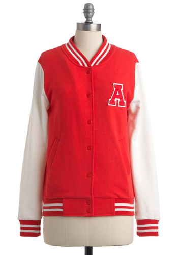Red Letterman Day Jacket - Mid-length, Casual, Rockabilly, Red, White, Solid, Patch, Long Sleeve, Buttons, Fall, 1.5