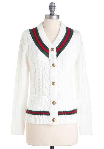 Gotta Prep-resent Cardigan - Mid-length, White, Red, Green, Buttons, Knitted, Pockets, Long Sleeve, Solid, 90s