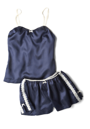 Beneath the Night Sky Sleep Set - Blue, White, Solid, Bows, Lace, Spaghetti Straps, Casual, Vintage Inspired