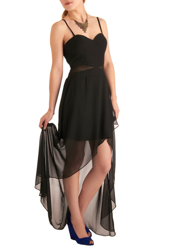 Awaited Occasion Dress - Black, Solid, Cutout, Spaghetti Straps, Formal, Prom, Wedding, A-line, Short, Boho, Sheer, High-Low Hem, Sweetheart, Bridesmaid, Top Rated