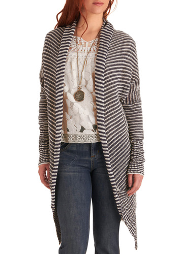 Cozy Chic Cardigan - Mid-length, Casual, Blue, White, Stripes, Long Sleeve, Knitted, Pockets, Nautical