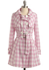 Candy Connoisseur Coat - Checkered / Gingham, Buttons, Casual, Statement, Long Sleeve, Spring, Fall, Long, White, Pink, Plaid, 1.5