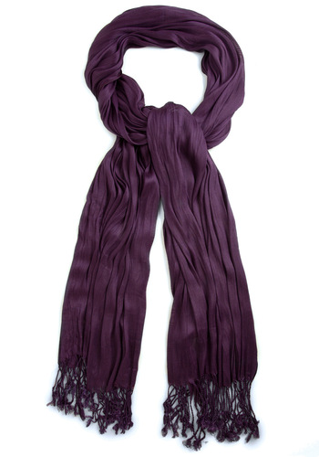 Crinkle in Time Scarf in Grape - Purple, Solid, Fringed, Party, Casual, Fall, Minimal, Variation