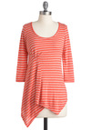 In Your Line of Work Top - Mid-length, Orange, White, Stripes, Casual, 3/4 Sleeve