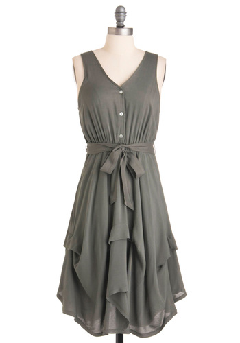 Stone Ground Grits Dress - Mid-length, Casual, Grey, Solid, Buttons, Handkerchief, Sleeveless, Steampunk, Belted