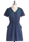 Mind Your Peas and Cutes Dress - Casual, Vintage Inspired, 40s, Blue, Green, Solid, Buttons, Pockets, A-line, Short Sleeves, Short, Scholastic/Collegiate, Collared