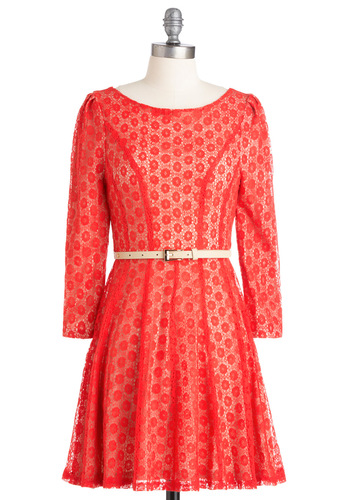 Cherry Tomato Salad Dress - Party, Red, White, Solid, Lace, A-line, Long Sleeve, Short, Belted, Sheer, Coral
