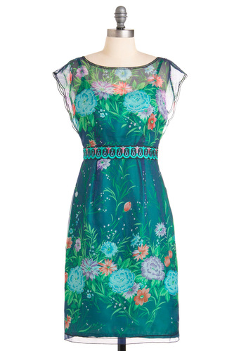 Water Garden Dress - Party, Green, Orange, Blue, Floral, Trim, Shift, Cap Sleeves, Long, Sheer, Boat, Daytime Party