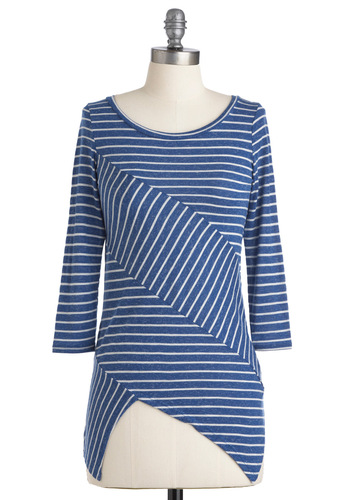 True to Stripe Top - Blue, White, Stripes, Casual, Handkerchief, Nautical, 3/4 Sleeve, Mid-length