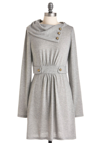 Gondola Lift Tour Dress in Fog - Mid-length, Casual, Grey, Solid, Buttons, Sheath / Shift, Long Sleeve
