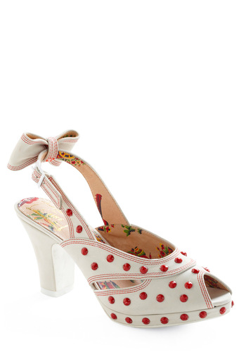 Charleston Champion Heel by Miss L Fire - White, Red, Bows, Rhinestones, Buttons, Party, Statement, Rockabilly