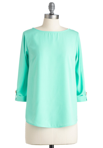 Mint What I Said Top - Mid-length, Green, Solid, Buttons, 3/4 Sleeve