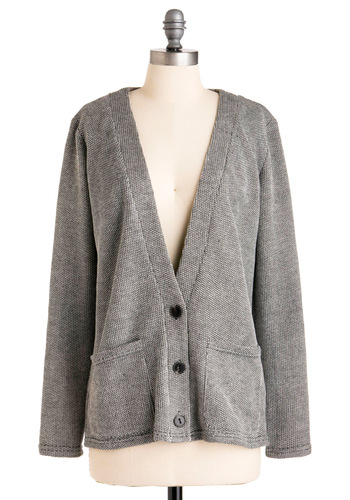 Law Library Cardigan - Mid-length, Casual, Menswear Inspired, Grey, Solid, Buttons, Patch, Pockets, Long Sleeve, Knitted, Fall