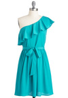 Teal Me Another Dress - Mid-length, Blue, Solid, Ruffles, Party, A-line, One Shoulder, Spring