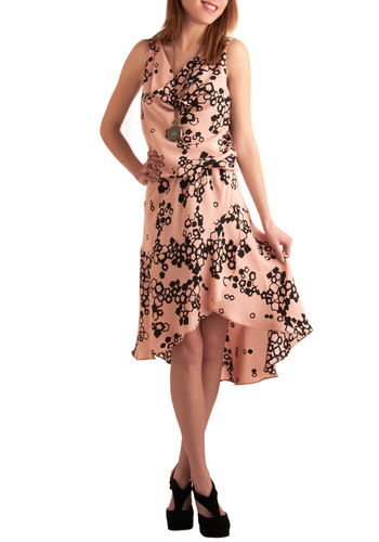 Elegant in the Afternoon Dress by Corey Lynn Calter - Pink, Black, Print, Sleeveless, Ruffles, Party, Drop Waist, Mid-length, Vintage Inspired, 20s, 30s