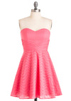 You're the Fun Dress - Party, Fairytale, Pink, Solid, Eyelet, Tiered, Wedding, A-line, Strapless, Mid-length