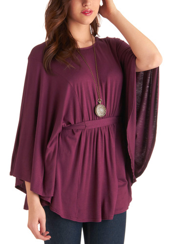 Wearable Reward Tunic - Purple, Solid, Cutout, Long Sleeve, Casual, Long
