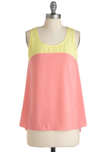 Two Scoops of Sweetness Top - Pink, Yellow, Sleeveless, Casual, Spring, Mid-length