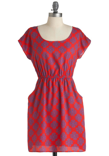 Letterpress Junket Dress - Mid-length, Casual, Red, Blue, Print, Cutout, Pockets, Nautical, A-line, Short Sleeves