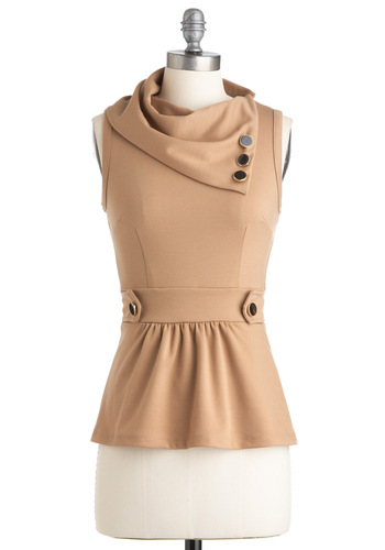 Coach Tour Top in Sand - Tan, Solid, Buttons, Work, Sleeveless, Mid-length, Peplum, Best Seller, Variation