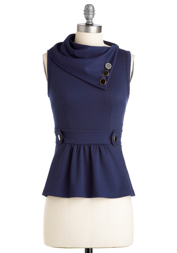 Coach Tour Top in Navy - Mid-length, Blue, Solid, Buttons, Sleeveless, Work, Peplum, Variation, Basic, Fall, Top Rated, Blue, Sleeveless