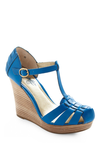 Good Intentions Wedge by Seychelles - Blue, Tan / Cream, Solid, Wedge, Buckles, Cutout, Casual, High, Best, T-Strap