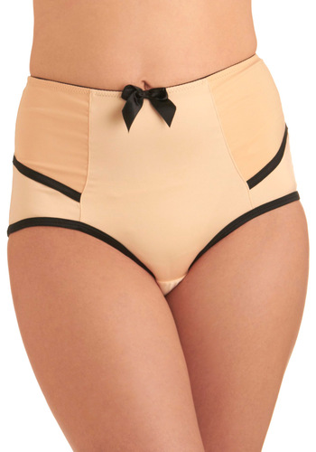 Dressing Parlor Undies - Tan, Black, Solid, Bows, Trim, Vintage Inspired, Pinup, Variation, 50s